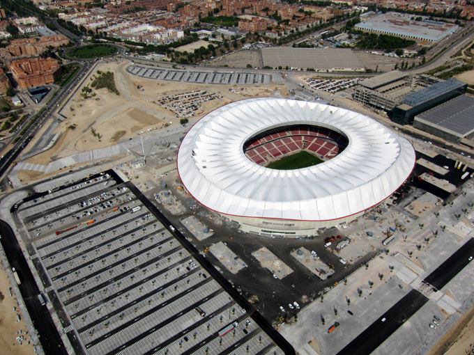 Vista aérea del proyecto del Estadio Wanda Metropolitano y de su entorno.